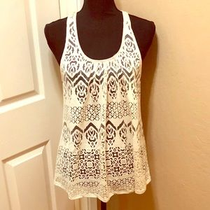 American Rag cream cutout design sheer tank